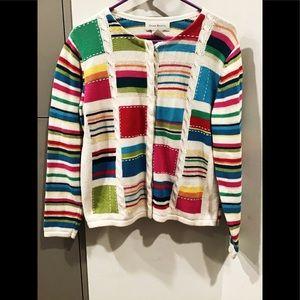 Susan Bristol knitted multi-color cardigan sweater